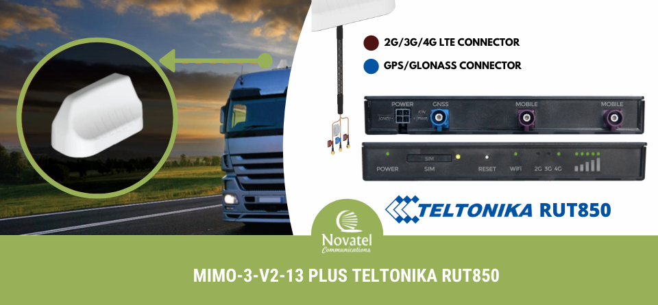 Banner: Poynting MIMO-3-V2 WiFi/4G/5G External Antenna Mounted on a Truck, Paired with Teltonika RUT850 Gateway